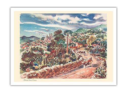 Lebendiges Taxco, Mexiko - United Airlines Kalenderseite - Vintage Retro Welt Reise Plakat Poster von Joseph Fehér1948 - Premium 290gsm Giclée Kunstdruck - 30.5cm x - United Poster Airlines