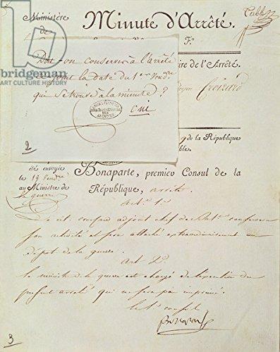 "Leinwand-Bild 40 x 50 cm: ""Official document signed by Napoleon I (1769-1821) 1 Vendemiaire An 9 (23rd September 1800) (pen & ink on paper)"", Bild auf Leinwand"