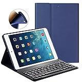 Custodia per tastiera per iPad Nuovo 9.7 '/ iPad Air / iPad Air 2 - GOOJODOQ [Aggiornamento] Cover posteriore morbida TPU [Angolo di visione regolabile] + Tastiera Bluetooth V3.0 wireless magneticamente staccabile immagine