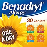 Benadryl Allergy One a Day 10 mg Tablets - Effective and Long Lasting Relief from Hay Fever, Pet, Skin and Dust Allergies - 30 Tablets