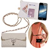 Xtra-Funky Exclusive Luxury Faux Leather Quilted Handbag Purse Style Case with Carry strap and Beautifully Decorated Crystal Flower For iPhone 5 / 5S - White (Includes a Mini Stylus and LCD Screen Protector Film)