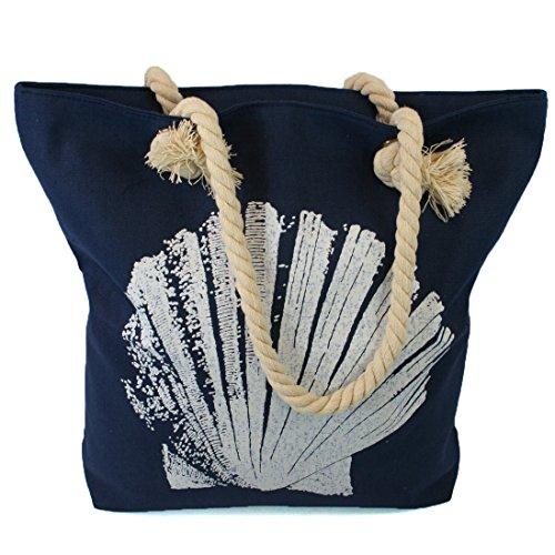 Fermaporta, borsa con manici in corda in a Seaside design Blu