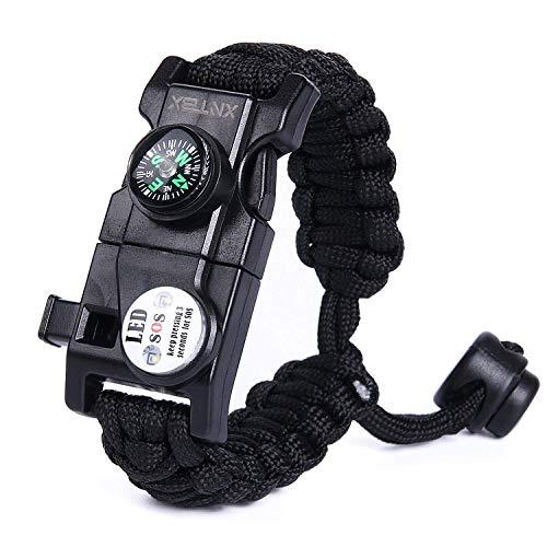 Paracord 550 Armband-Set verstellbar Survival Armband – (SOS LED-Licht, Kompass, Fire Starter, Trillerpfeife, Schaber, Messer) – von xntbx – Beste Wilderness survival-kit für Wandern/Camping