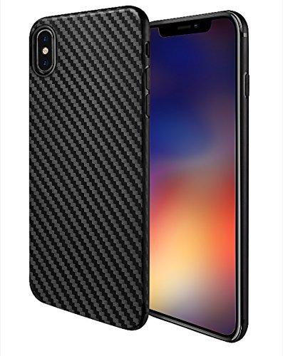 MADIBA Hülle kompatibel mit iPhone X Hülle, iPhone XS Carbon Case Design Black (Ultra Dünn) [FederLeicht] Bumper Cover Silikon Handyhülle - Ultra-dünnen Design