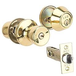 Ace Entry Lock Combination set singolo cilindro catenaccio Tulip knob tubolare entrata serratura, finitura ottone lucido