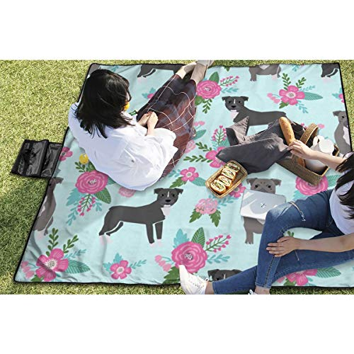 BigHappyShop Picnic Blanket Pitbull Dog Floral Pitbull Cheater Quilt E Floral Teal Aqua Waterproof Extra Large Outdoor Mat Camping Or Travel Easy Carry Compact 59