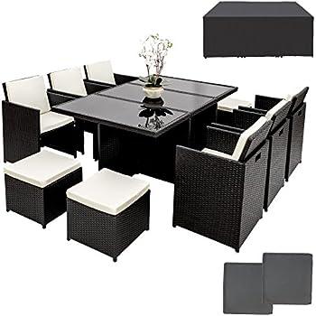 TecTake Ensemble Salon de jardin en Résine Tressée Poly Rotin Aluminium  Table Set 6+1+4 avec deux set de housses + housse de protection, vis en ...