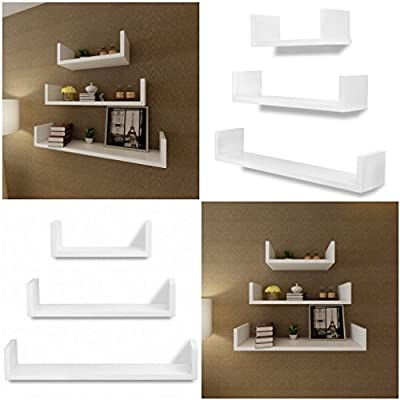 New Set Of 3 U Shape Floating Wall Mounted Storage Shelves Display Cd/dvd/book Unit (white) produced by Elitezotec © - quick delivery from UK.