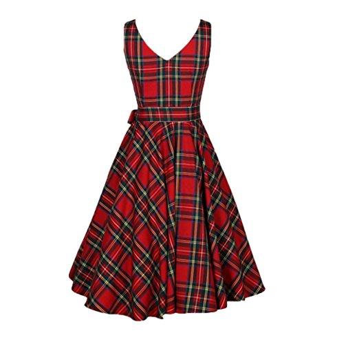 ntage Floral Bodycon Sleeveless beiläufiges Retro-Stil rot karierten Kleid Rock Vintage V-Ausschnitt Cocktailkleid Festlich Party Strand Kleid Lässig Abend-Partei-Kleid (3XL, rot) (Mädchen In Karierten Mini-röcke)