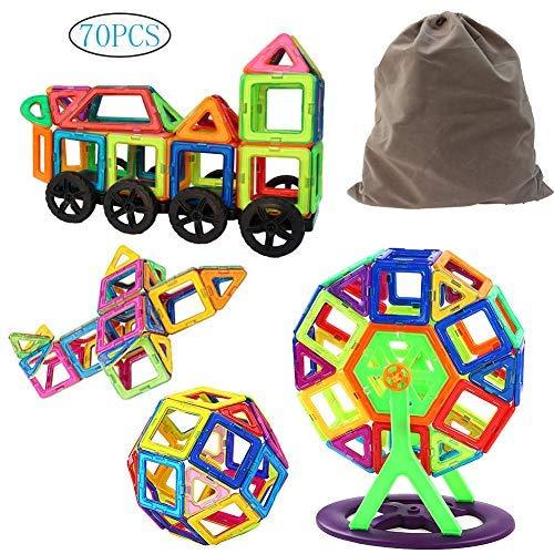 Baby Pig Magnetische Bausteine 70 Pcs Standard-Set, Regenbogen magnetische BAU Kleinkinder Spielzeug Kreativität Lernspielzeug mit Guide Booklet für Urlaub und Geburtstag Geschenk