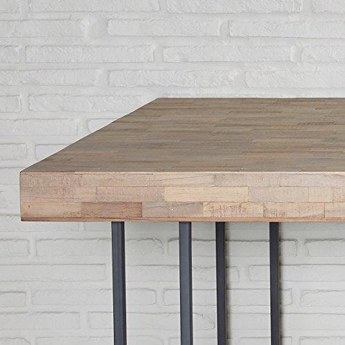 Wholesaler GmbH Esstisch Recycling Teak Grau 210x110cm Holz Metall Tisch Esszimmertisch