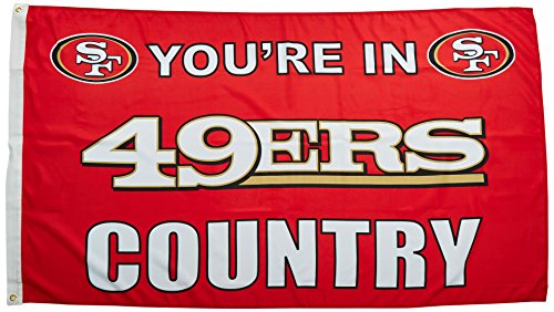 NFL Land Flagge mit Grommetts, 3 x 5-Foot, 94105B, San Francisco 49ers, 3
