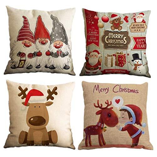Yidaxing 4 Pack Funda De Almohada De Navidad, Feliz Navidad Encantador Papá Noel Alce Algodón Lino...