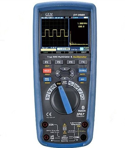 CEM DT-9989 TRMS Multimeter + Oszilloskop,Bluetooth, Profi-Handmultimeter, TÜV/GS, Autorange, Spannungsmesser, Durchgangsprüfer, Messgerät - CAT III 1000V, 50000 Anzeige