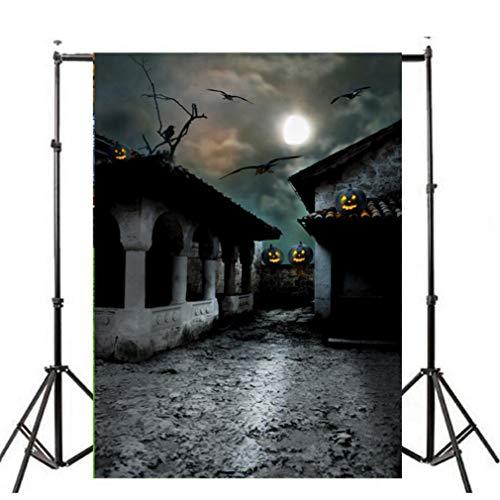 OverDose Damen Halloween Backdrops Kürbis Vinyl 3x5FT Laterne Hintergrund Home Bar Clubbing Fotografie Studio