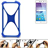 K-S-Trade Handyhülle für Huawei Y6 2017 Single SIM Silikon Schutz Hülle Cover Case Bumper Silikoncase TPU Softcase Schutzhülle Smartphone Stoßschutz, blau (1x)