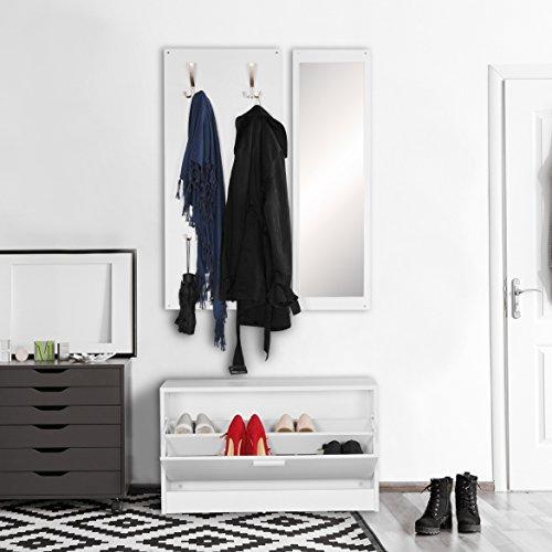 Wohnling Wand-Garderobe Jana, mit Spiegel und Schuhschrank Spanplatte, weiß