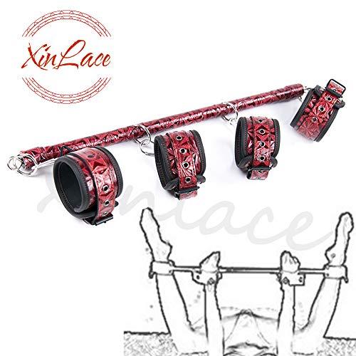XinLace-EUR Mensola fissata a Mano e Piedi in Pelle PU di Alta qualità con Motivo a Rombi Manico in Acciaio (Rosso)
