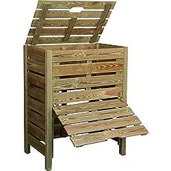 Jardipolys Composteur en bois avec trappe 400L