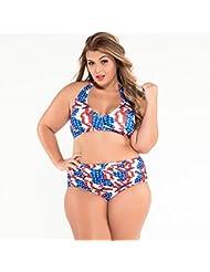 Vintage prints accroché Delta XL split cou se sont réunis les maillots de bain bikini taille haute