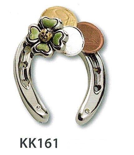 Kikke ferro di cavallo portafortuna argento con coccinella quadrifoglio e soldi smaltati cm6x4,5 laminato argento made in italy