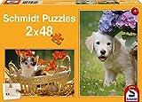 Schmidt Spiele 56102 - Puzzle - Hund und Katz, 2 x 48 Teile