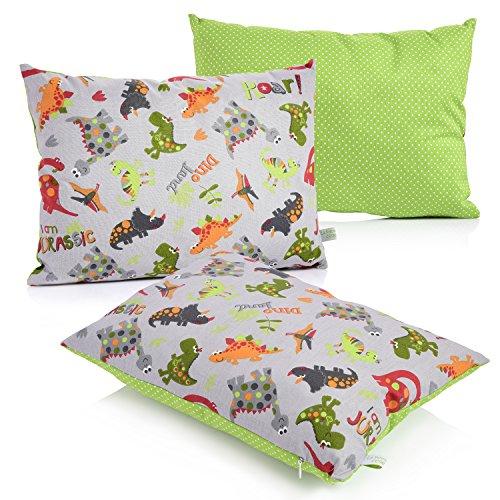 La Petite Unique | 35 x 25 cm oreiller pour enfants | décoration adaptée aux enfants | 100% non-toxique | oreiller lavable et certifié Ökotex pour bébés | Dinosaures