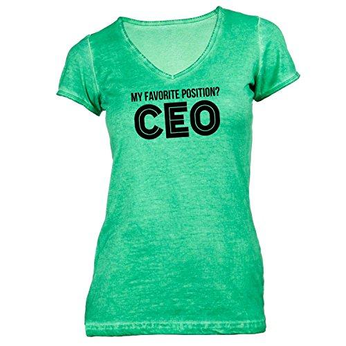 Damen T-Shirt V-Ausschnitt - My favorite position? CEO - Geschäftsführer Chef Boss Grün