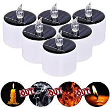 JIEDU 6 Pcs Solar Powered Candle Lámpara LED velas sin llama velas electrónicas para el partido, Windows, candelabros, luminarias, decoración de la boda