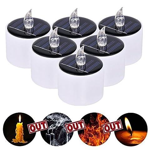 Jiedu 6 Stücke Solarleuchte LED Kerzen Licht Solar Warmes Weiß Teelicht für Partei,Festival Dekoration Blumendekoration und Hochzeitsdekoration