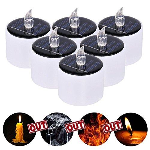 Jiedu 6 Stücke Solarleuchte LED Kerzen Licht Solar Warmes Weiß Teelicht für Partei,Festival Dekoration Blumendekoration und Hochzeitsdekoration (Weiße Lichter Solar)