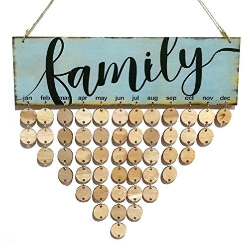 VORCOOL FAMILY Immerwährender Geburtstagskalender Holz DIY Kalender Geschenk für Haus Party Dekoration