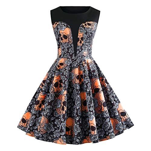 NPRADLA Damen 50er Jahre Cocktailkleid Rockabilly Elegantes Faltenrock Festliches Partykleider Vintage Kleid Audrey Hepburn Abendkleider mit Polka Dots Knielang A-Line