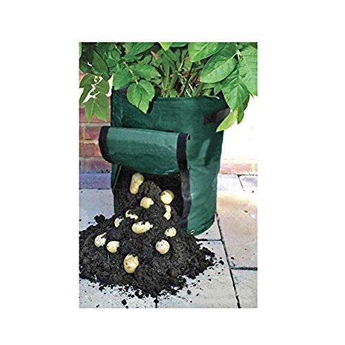 AmgateEu Beutel / Übertopf / Wanne / Tasche zum Anbauen von Kartoffeln und Gemüse für den Garten, mit Klappe für die Ernte, umweltfreundliches, wasserdichtes PE, 2er-Pack