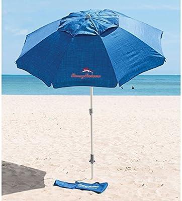 Tommy Bahama - Sombrilla azul con ancla de arena 2,1 m de diámetro y 2,45 m de altura