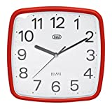 Trevi OM 3305 - Reloj de pared de diseño retro con maquinaria de cuarzo de funcionamiento silencioso - Color rojo