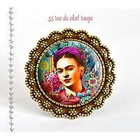 Frida Kahlo anello cabochon in vetro, Messico, Bohemia chic, zingaro, multicolore