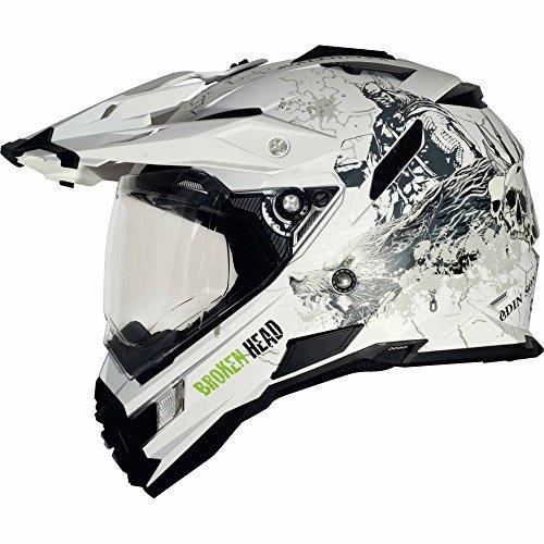Broken Head Fullgas Viking matt weiß Enduro Helm (XL (61-62 cm)) - Motorradhelm - MX Helm - Cross Helm