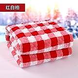 Znzbzt Double couverture couverture étudiant seul hiver couvertures couverture en polaire double épaisseur des couvertures de mariage lits superposés et des couvertures, lit 200x220cm, rouge et blanc