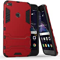 Huawei P8 Lite 2017 Funda, YHcase Soporte Incorporado A Prueba de golpes Anti-Arañazos y Polvo Mezcla Doble Capa Armadura Proteccion Funda Cáscara para Huawei P8 Lite 2017 -Red Armatura