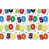 2 Sheets Special Age 50 Wrapping Paper & 1 Matching Gift Tag - 50th Birthday
