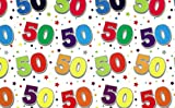 Geschenkpapier zum 50. Geburtstag mit passendem Geschenkanhänger, 2 Bögen (englischer Aufdruck)