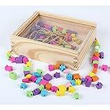 B&Julian Fädelspiel Motorikspielzeug Fädelschmuck aus Holz mit 180 Perlen 4 farbigen Bändern in Holzbox mit Deckel einfachen Transport für Kinder ab 3 Jahren