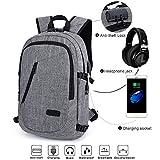 Rucksack Laptop, MODAR Rucksack Wasserdicht (gilt 16 Zoll Laptop), Schulrucksack mit USB Ladeport Kopfhöreranschluss und Anti-Diebstahl Schloß für Business, Reisen Camping, Kapazität 23L, Grau
