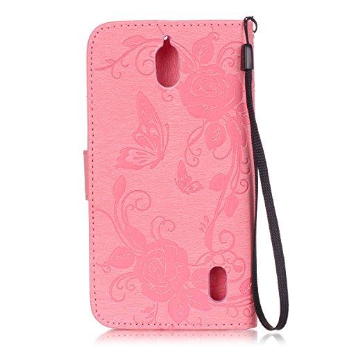 Hülle für iPhone 6 Plus / 6S Plus (5.5 zoll), Owbb 3D Prägeartig Diamond Schmetterling Blumen Handyhülle PU Ledertasche Flip Cover mit Stand Function Innenschlitzen Design Schwarz(Ein freier Stylus al Rosa
