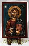 IconsGr Ícono Cristiano ortodoxo Griego de Jesucristo, de Madera, Hecho a Mano / a2_2