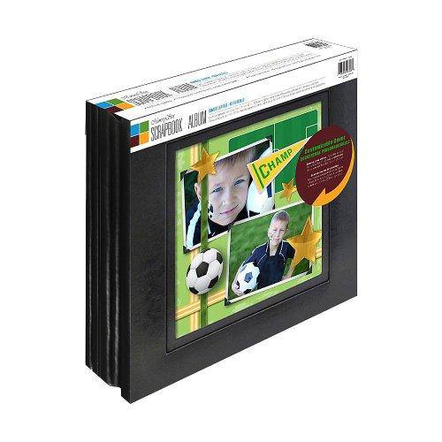 OldTown Speicher-Stor 2Pack Lederfaserstoff Scrapbook Album mit großem Display Fenster, 20Seiten, schwarz (Archivierung Foto-speicher)