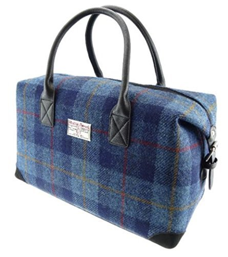 Blue-Check-Holdall-Unisex-Bag-Harris-Tweed-LB1006COL14