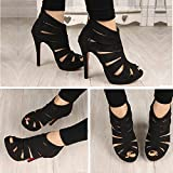 TOOGOO(R) Women High Heel Strap Sandal Ankle Open Toe Platform Pump Shoes Black Size 37