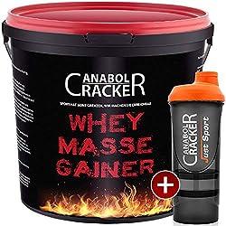 Whey Masse Gainer, Eiweisspulver, 3000g Eimer, Erdbeere, Toffi oder Vanille + Proteinshaker, Sonderangebot Anabol Cracker (VANILLE - Geschmack)